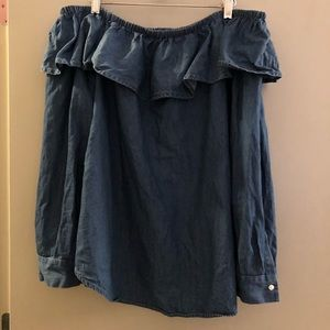 Ann Taylor off the shoulder chambray top